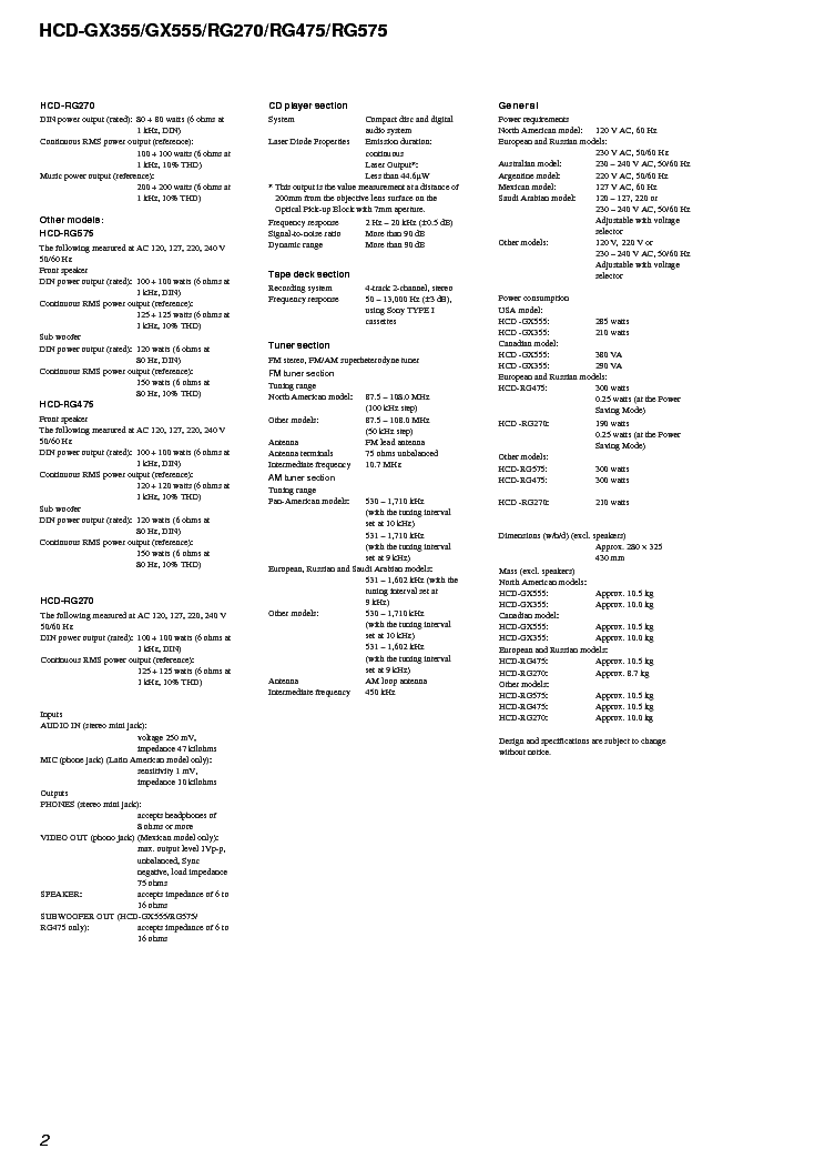 SONY HCD-GX355,GX555,RG270,RG475,RG575 VER1.4 SM Service