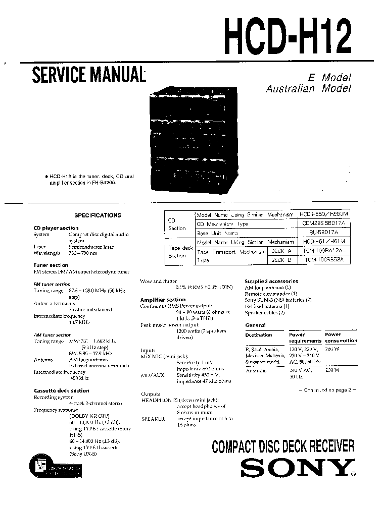SONY TA-FE300R FE500R SM Service Manual free download
