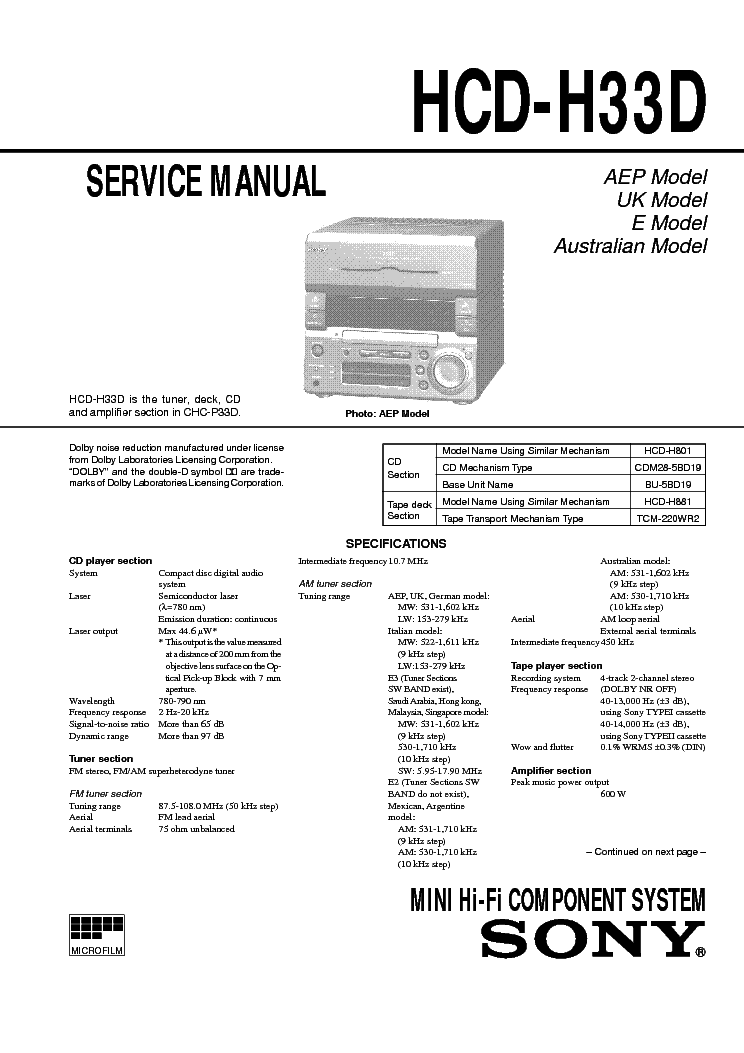 SONY HCD-H33D CHC-P33D Service Manual download, schematics