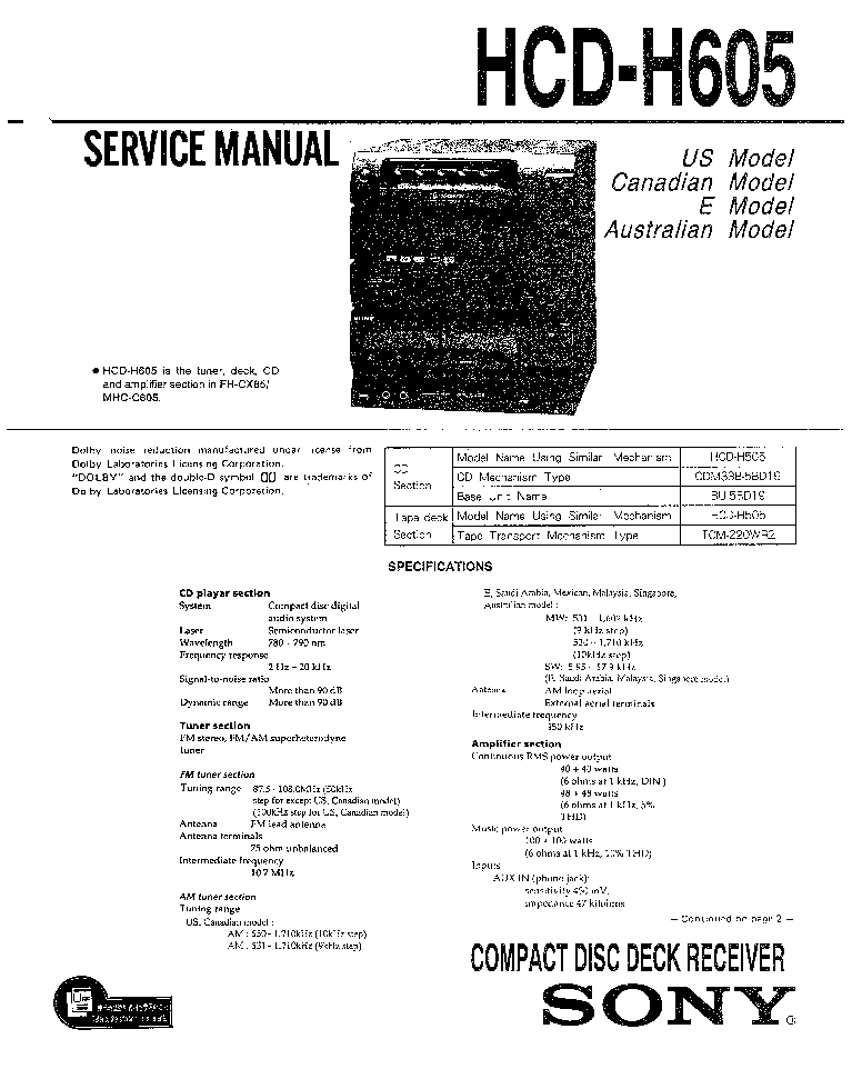 SONY TC-TX333 DHC-MD333 SM Service Manual free download