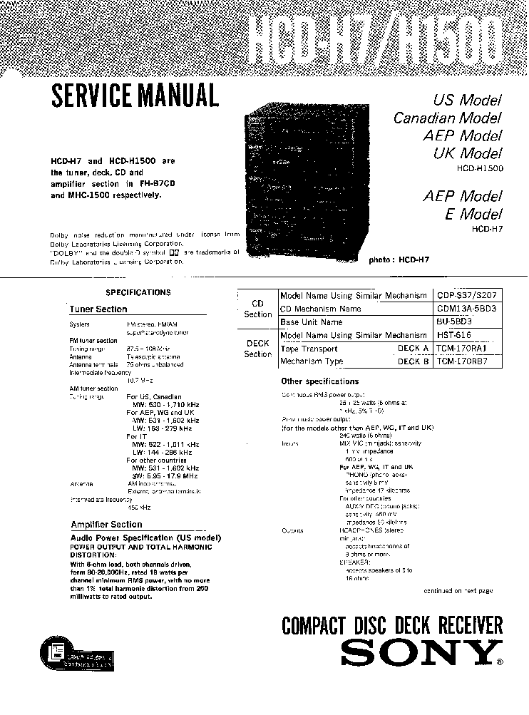 SONY HCD-H7,H1500-FH-B7CD-MHC-1500-SM Service Manual