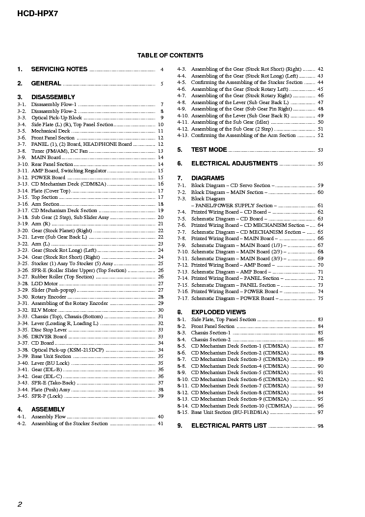 SONY HCD-HPX7 VER-1.0 Service Manual download, schematics