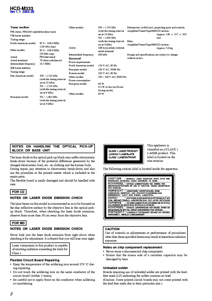 SONY HCD-M333 VER1.5 Service Manual download, schematics
