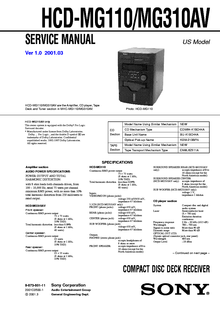 SONY HCD-C33 SCH Service Manual download, schematics
