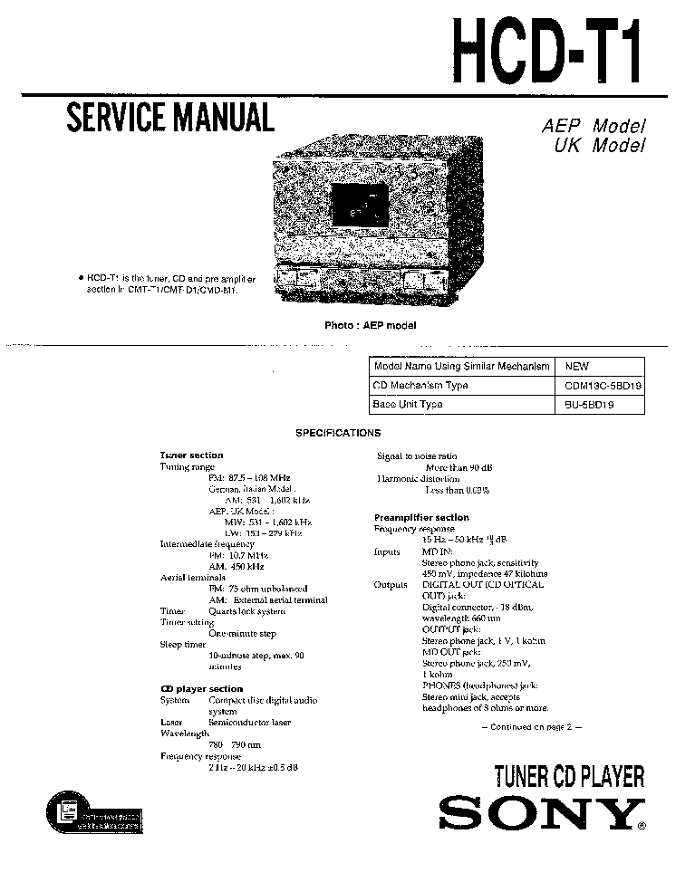 SONY HCD-T1 Service Manual download, schematics, eeprom