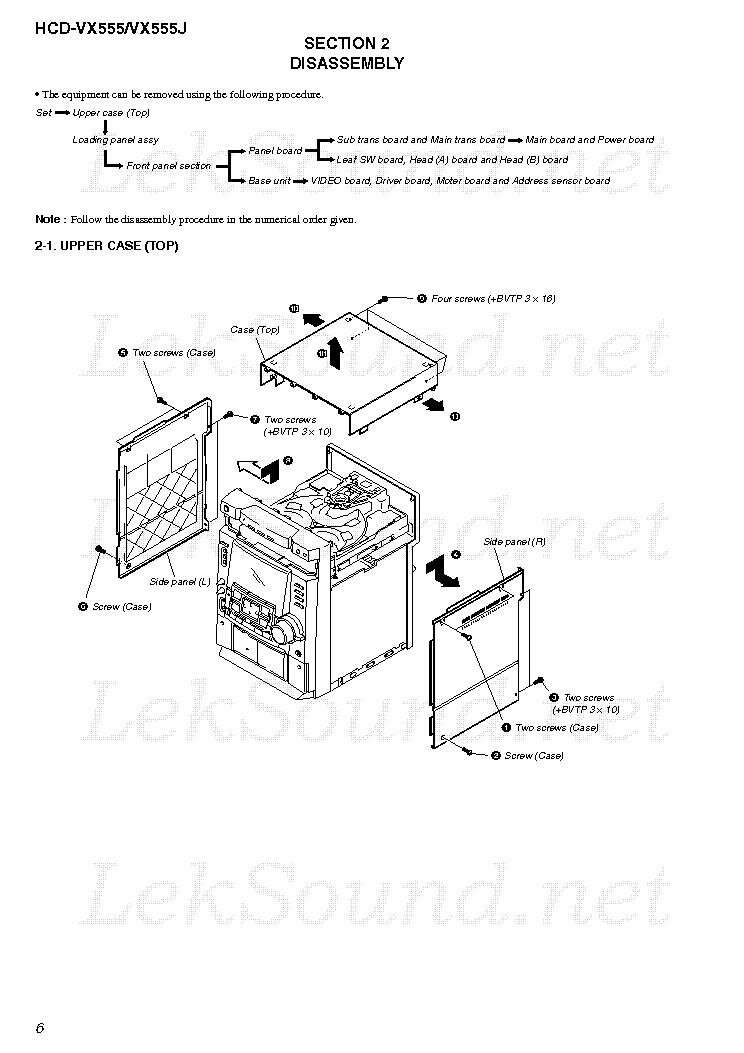 SONY HCD-VX555 VX555J VER-1.4 SM Service Manual download