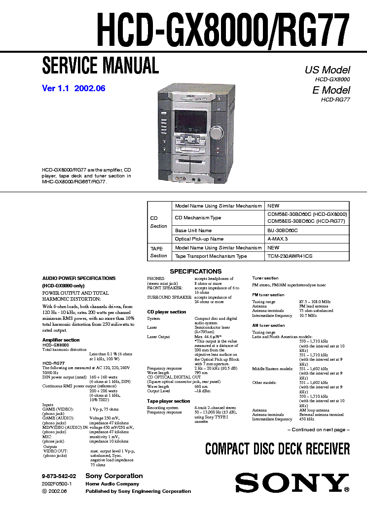 SONY HCD GX8000 RG77 Service Manual download, schematics