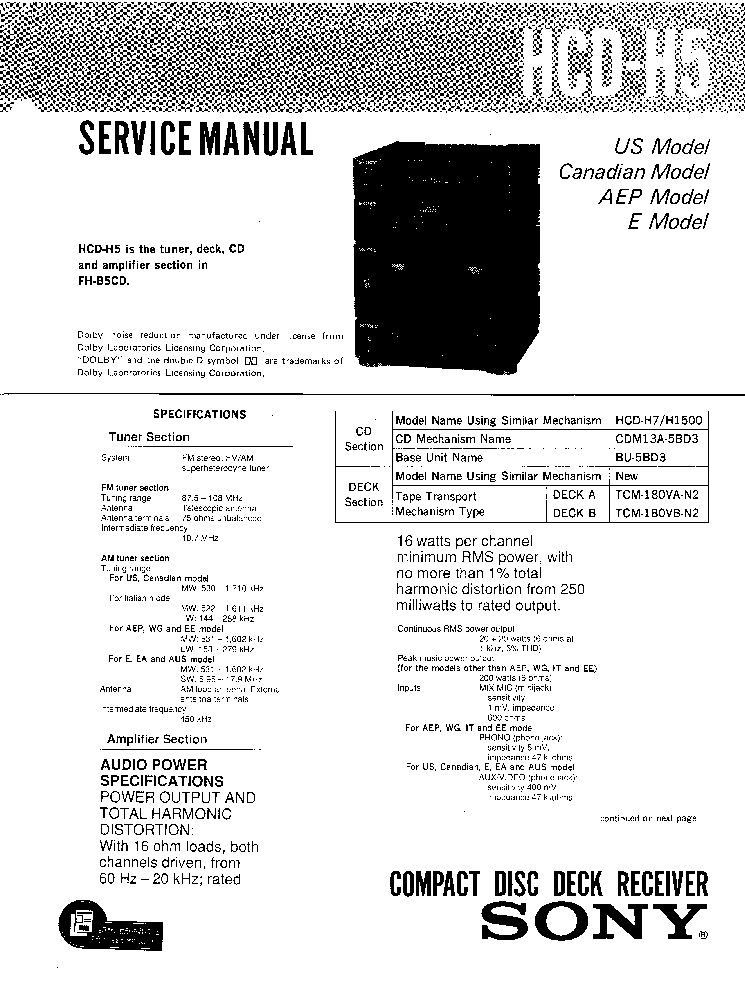 SONY TC-K715S TC-K717ES TC-K815S SM Service Manual free