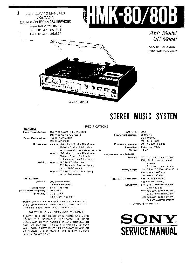 SONY HMK-80 HMK-80B Service Manual download, schematics