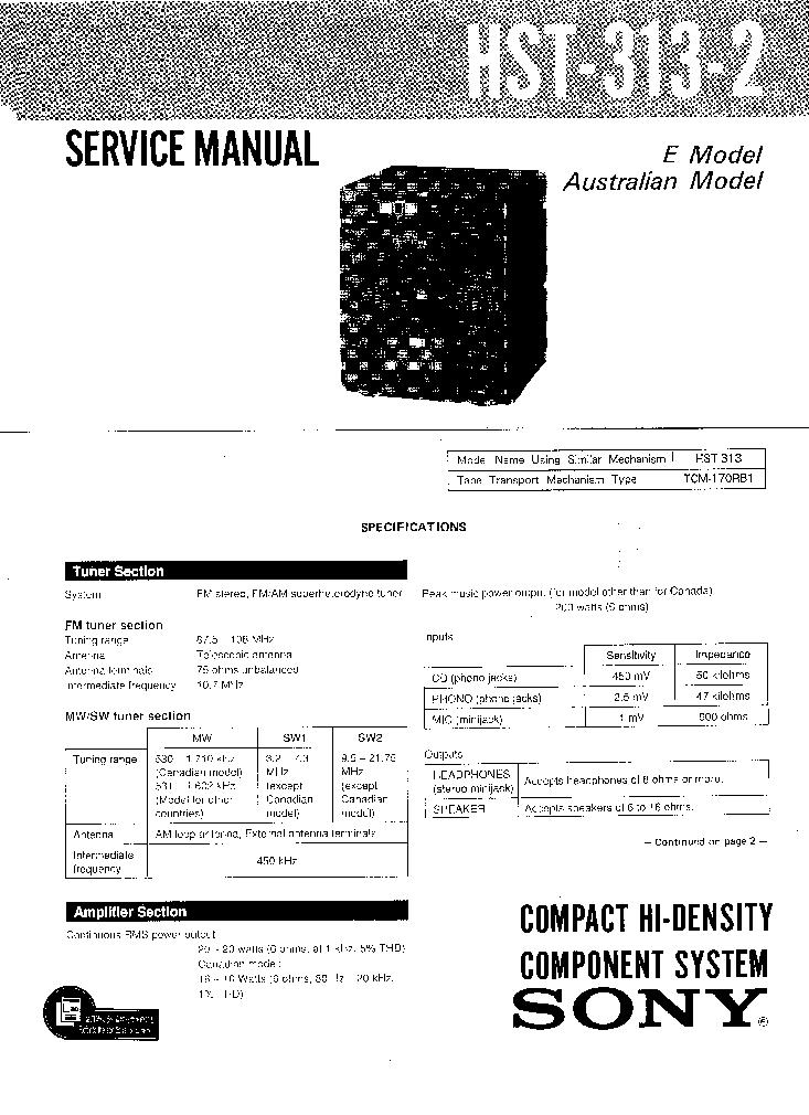SONY HST-313-2 SM Service Manual download, schematics