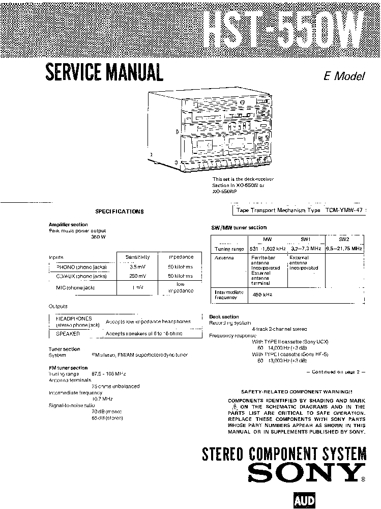 SONY HST-550W E SM Service Manual download, schematics
