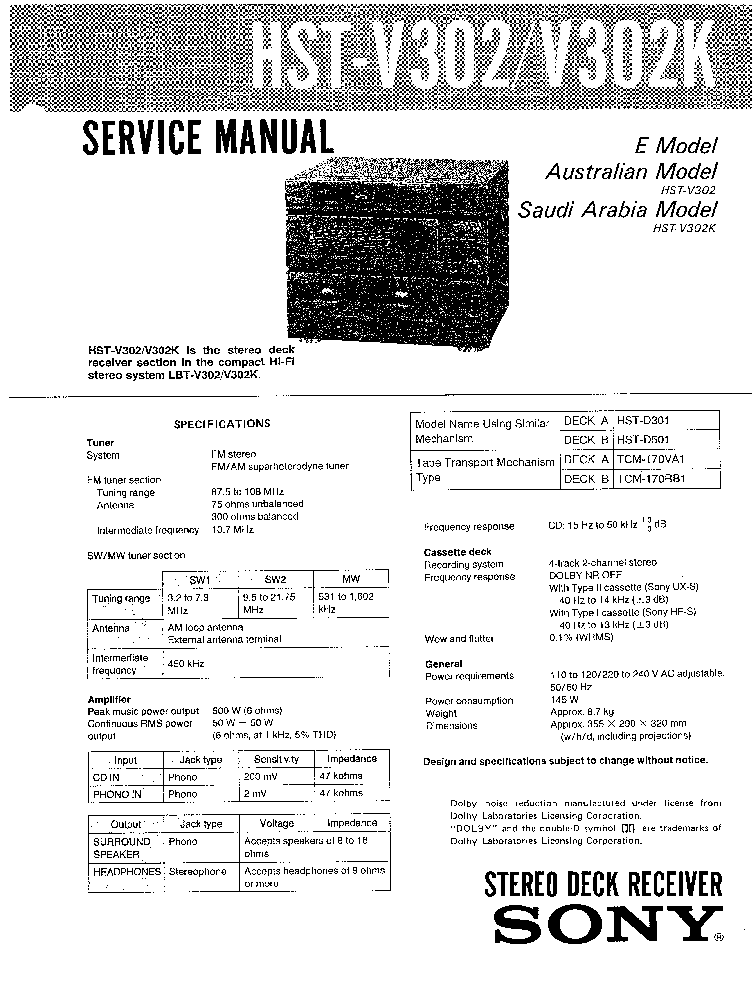 SONY HST-V302 K Service Manual download, schematics