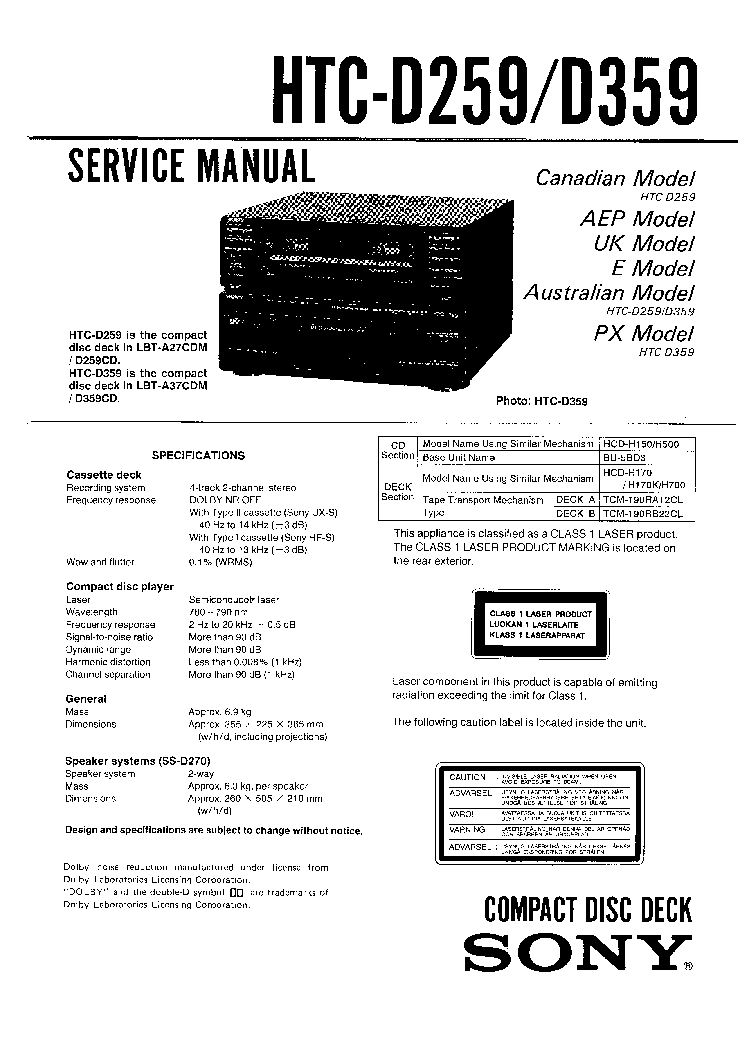 SONY CDP-X3000 X3000ES SM Service Manual download
