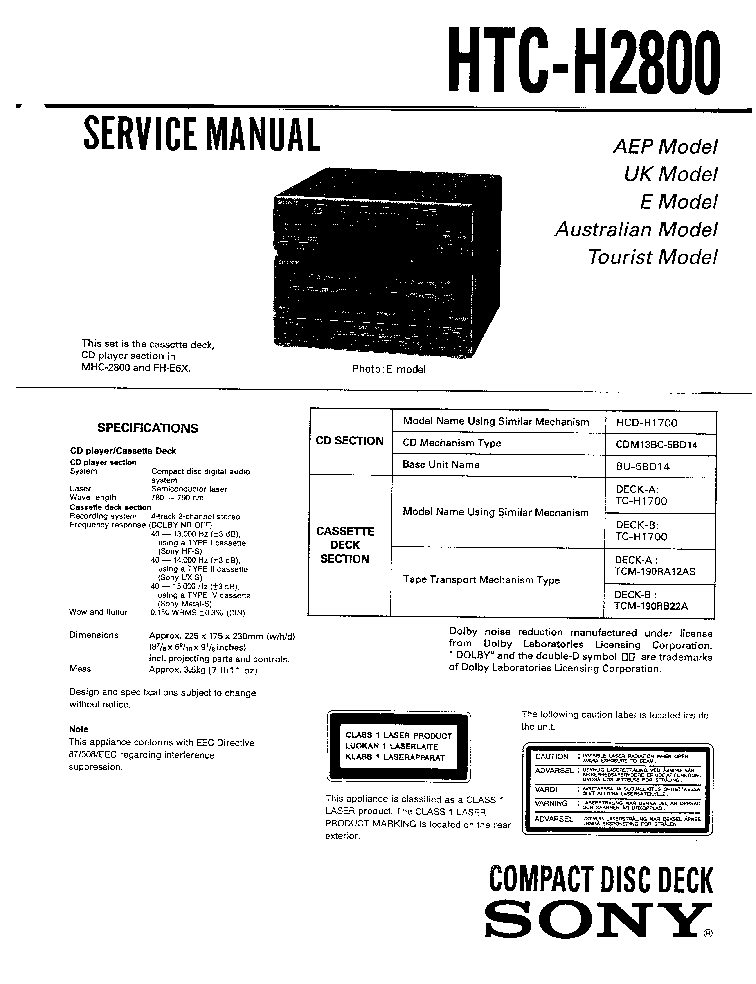 SONY MDR-IF120 MDR-IF120K SM Service Manual download