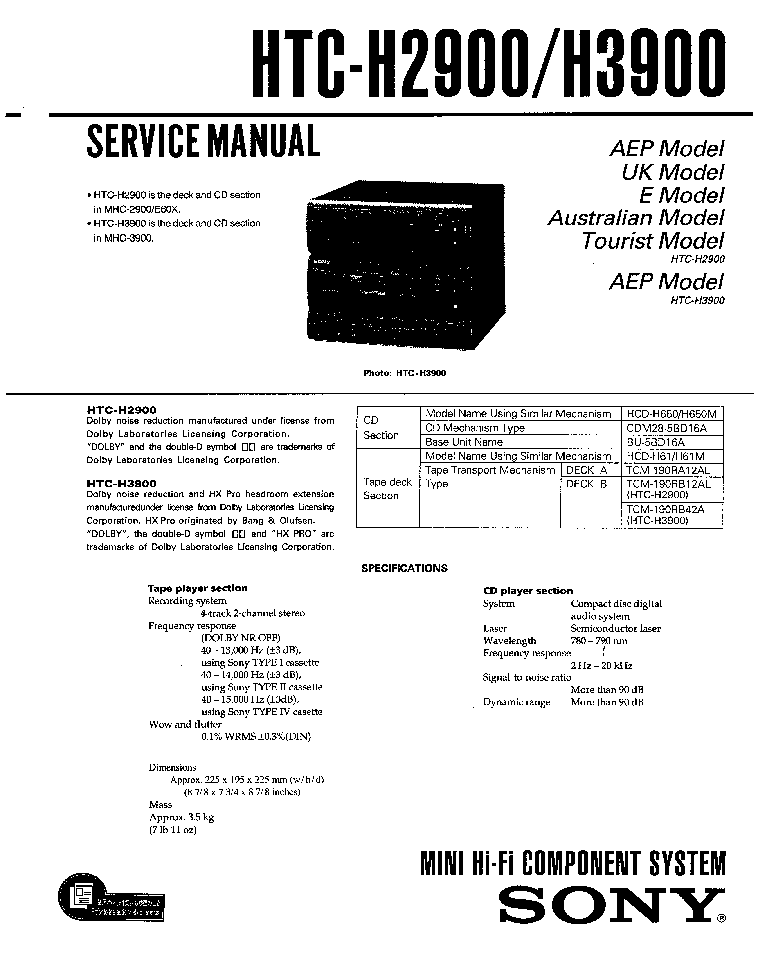 SONY HTC-H2900 H3900 Service Manual download, schematics