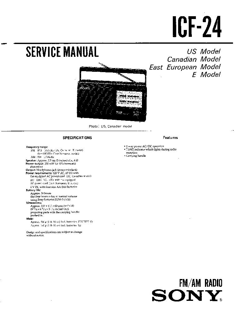 SONY ICF-24 SM Service Manual download, schematics, eeprom