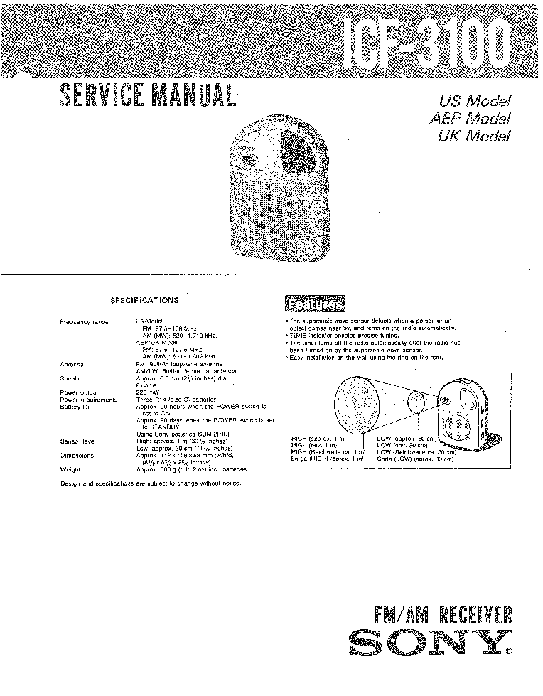 SONY ICF-3100 Service Manual download, schematics, eeprom
