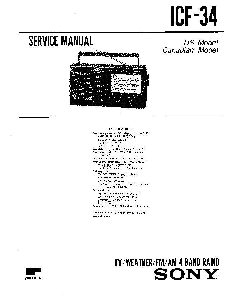 SONY ICF-34 Service Manual download, schematics, eeprom