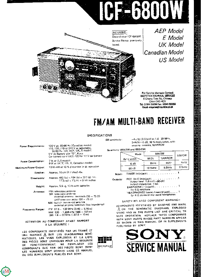 SONY ICF-6800W SM Service Manual download, schematics