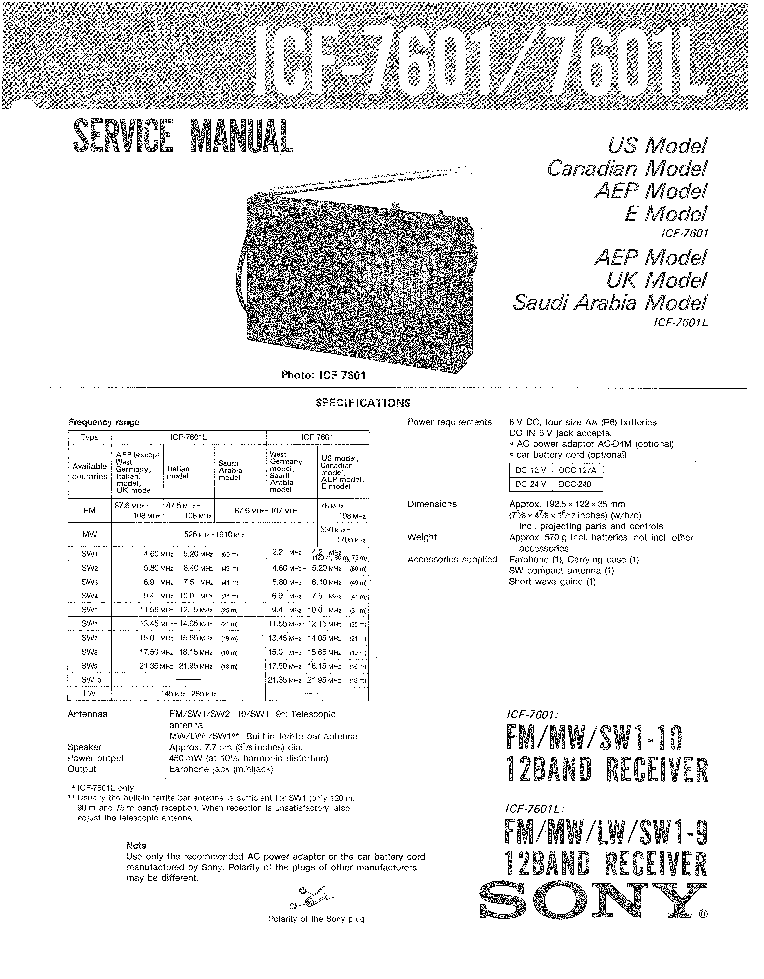 SONY ICF-7601 7601L SM Service Manual download, schematics