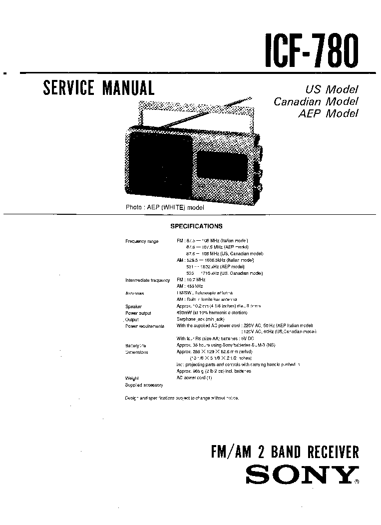 SONY ICF-780 SM Service Manual download, schematics