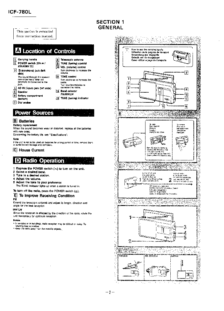 SONY ICF-780L RECEIVER Service Manual download, schematics