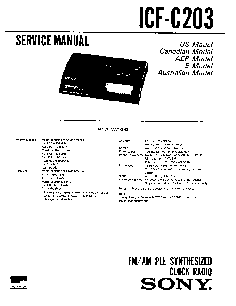 SONY ICF-C203 SM Service Manual download, schematics