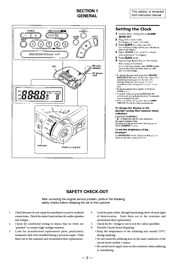 SONY ICF-C253 Service Manual download, schematics, eeprom