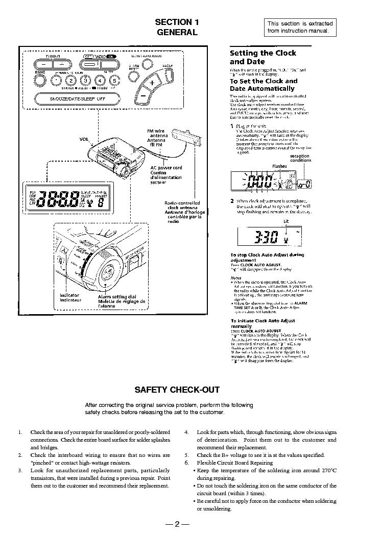 SONY ICF-C255RC Service Manual download, schematics