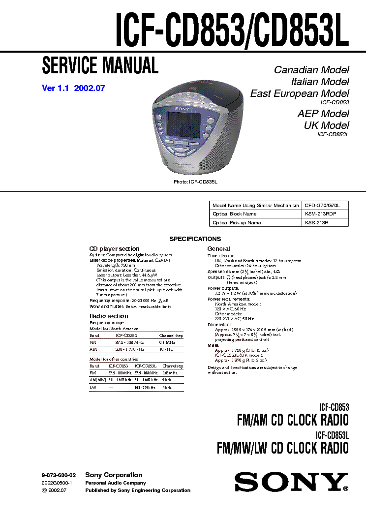 SONY CDP-CX220 Service Manual download, schematics, eeprom