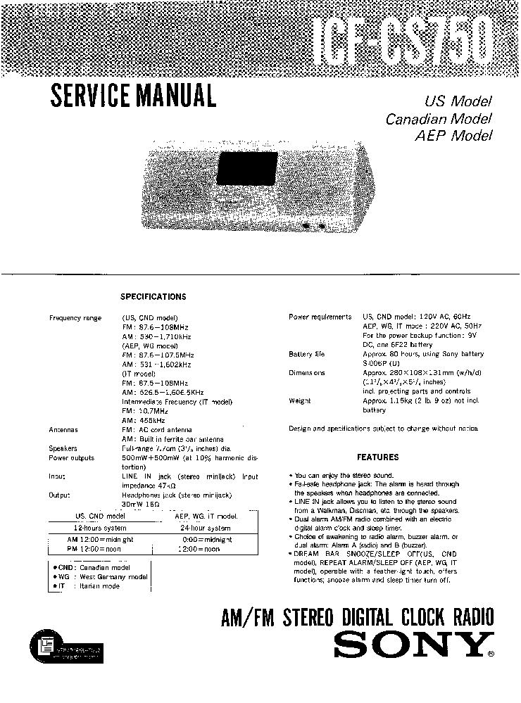 SONY ICF-CS750 Service Manual download, schematics, eeprom