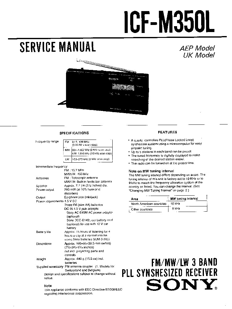 SONY ICF-M350L SM Service Manual download, schematics