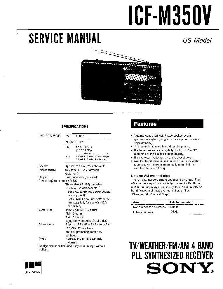 SONY ICF-M350V SM Service Manual free download, schematics