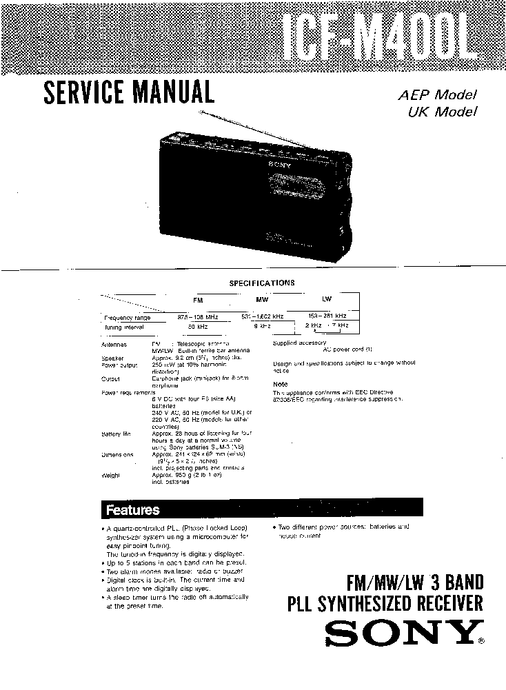 SONY ICF-M400L SM Service Manual download, schematics