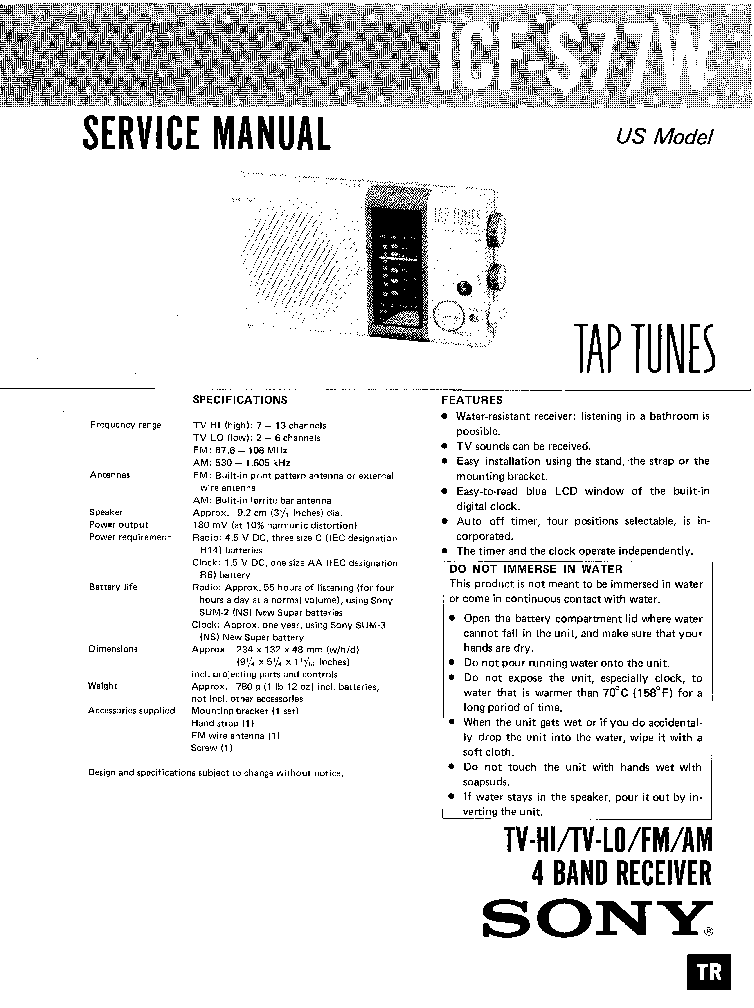 SONY WM-EX190-EX192 Service Manual download, schematics