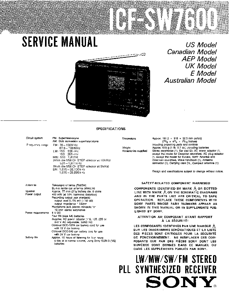 SONY ICF-SW7600 Service Manual download, schematics