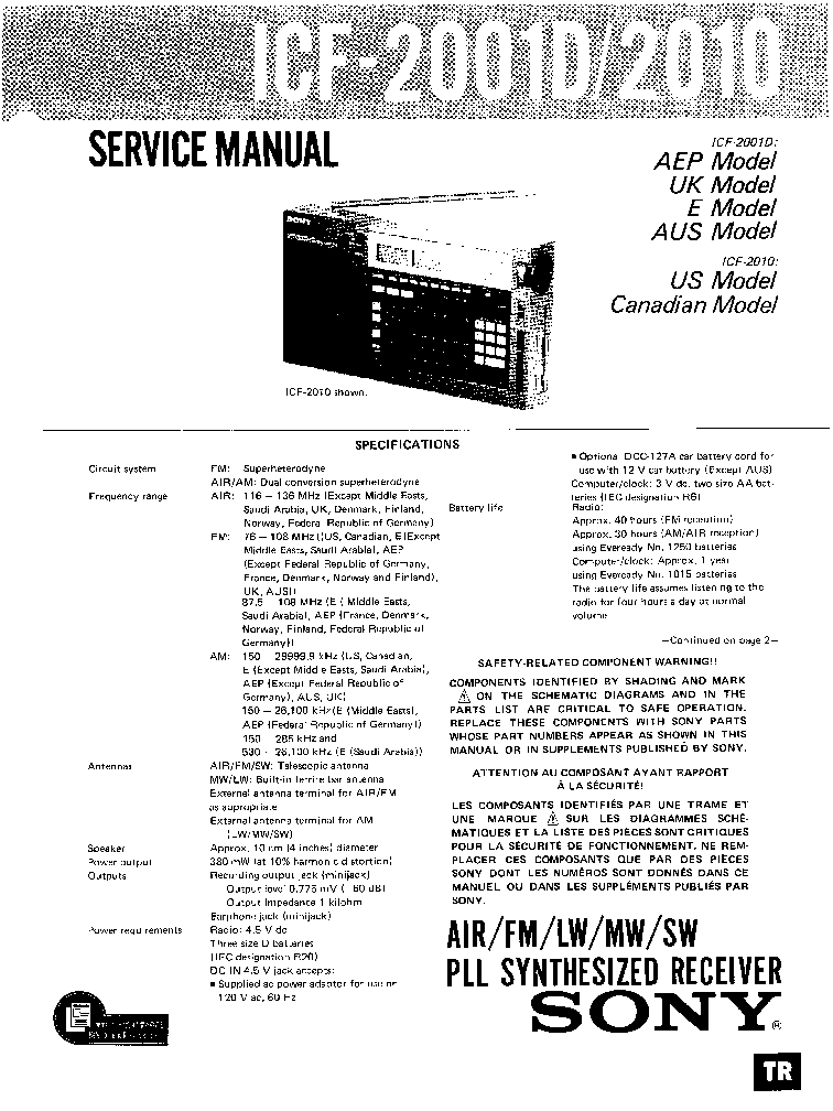 SONY ICF2001D ICF2010 Service Manual download, schematics