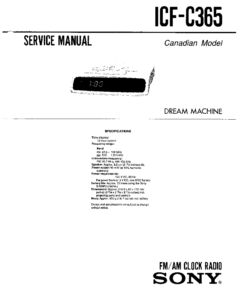 SONY ICF C365 SM Service Manual download, schematics