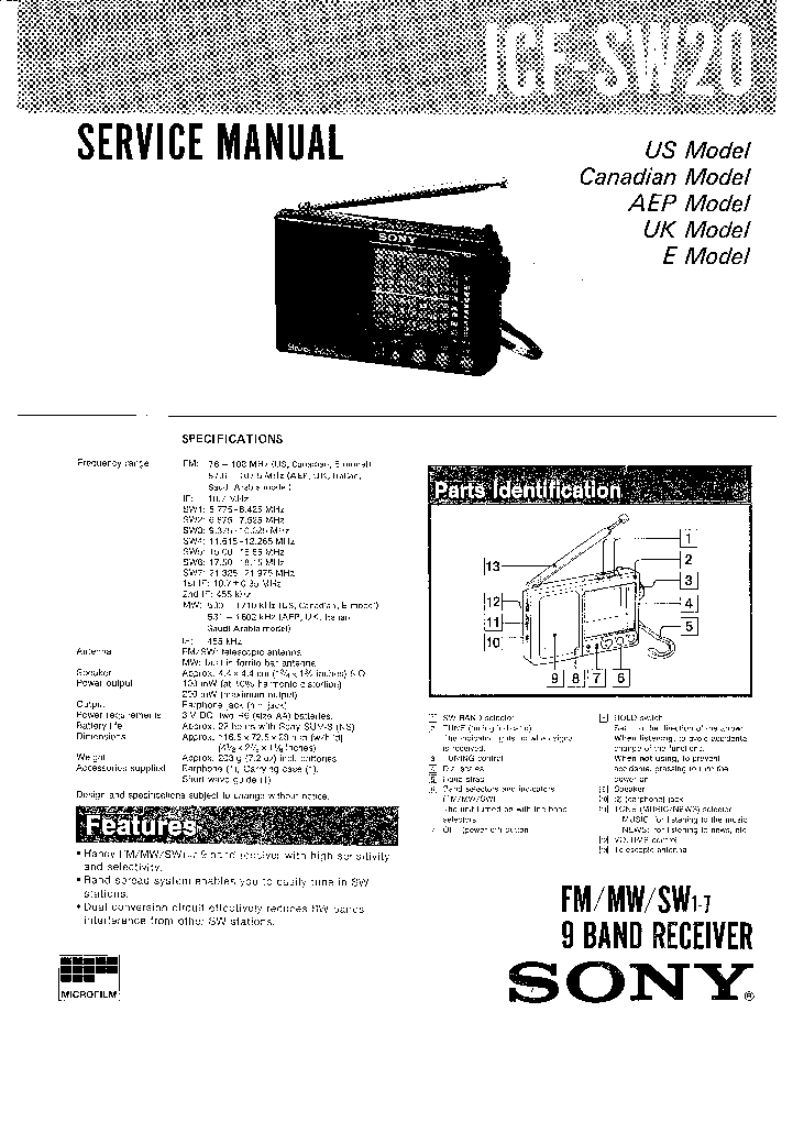 SONY ICF SW20 Service Manual download, schematics, eeprom