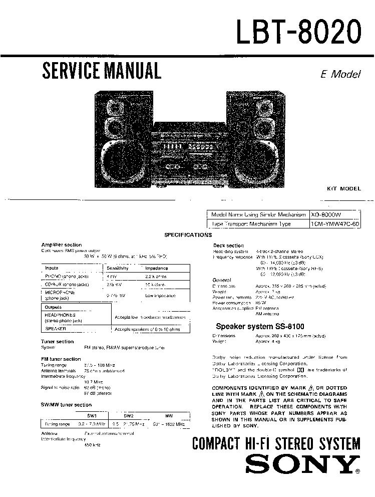 SONY LBT-8020 995398511 SM Service Manual download
