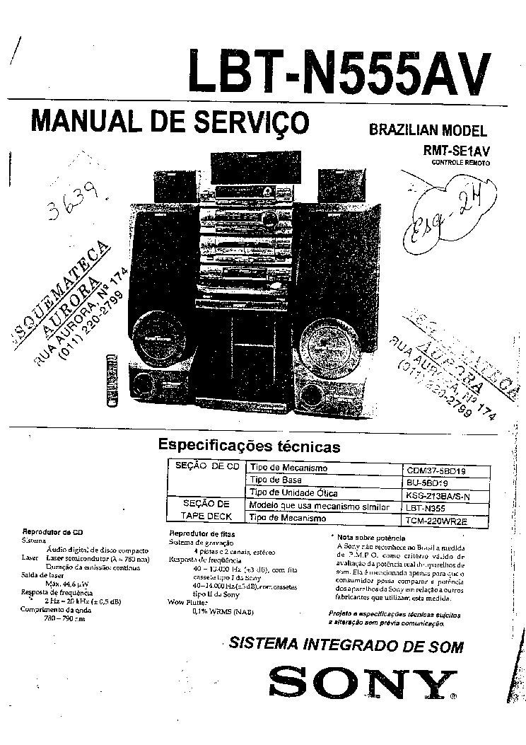 SONY LBT N555AV Service Manual download, schematics