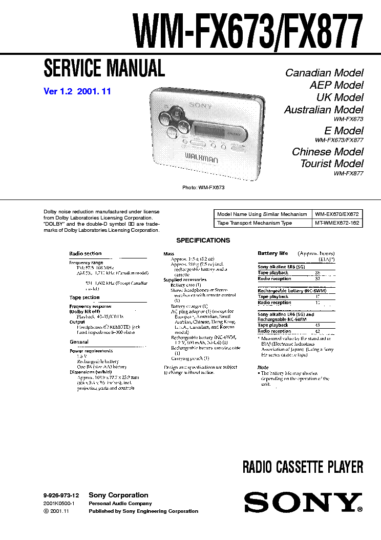 SONY SRF-HM22 SM Service Manual download, schematics