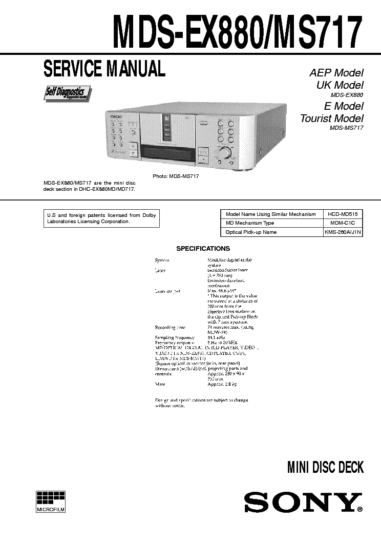 SONY MDS-EX880 MS717 Service Manual download, schematics