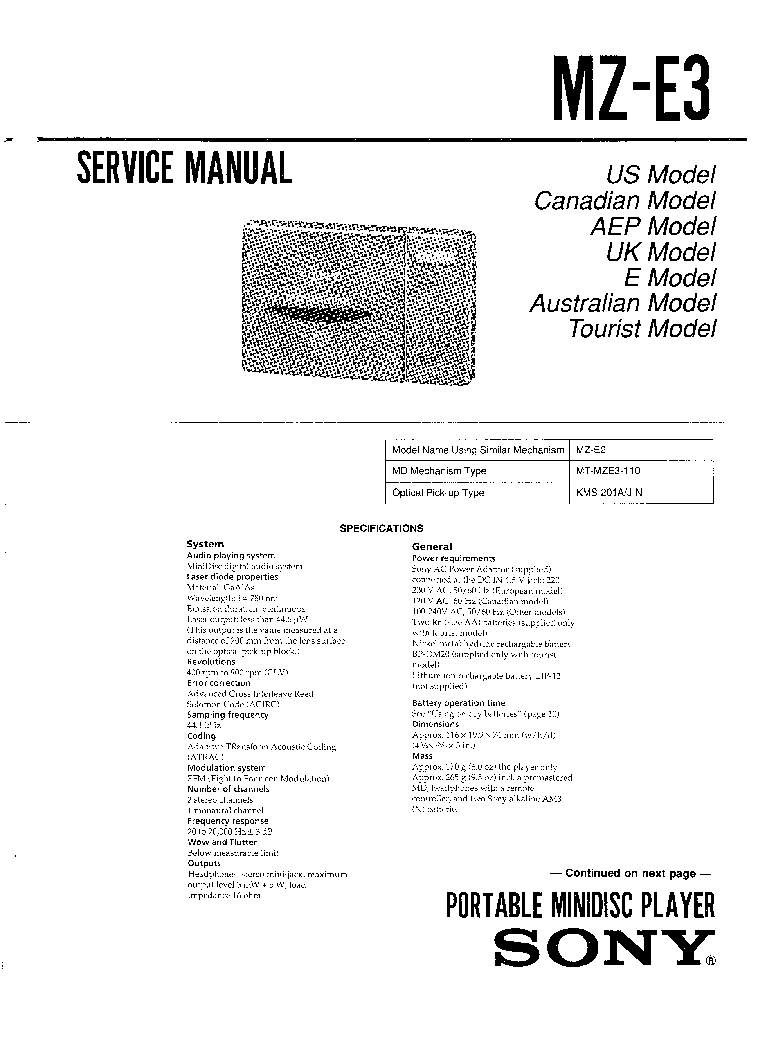SONY MZ-E3 Service Manual download, schematics, eeprom