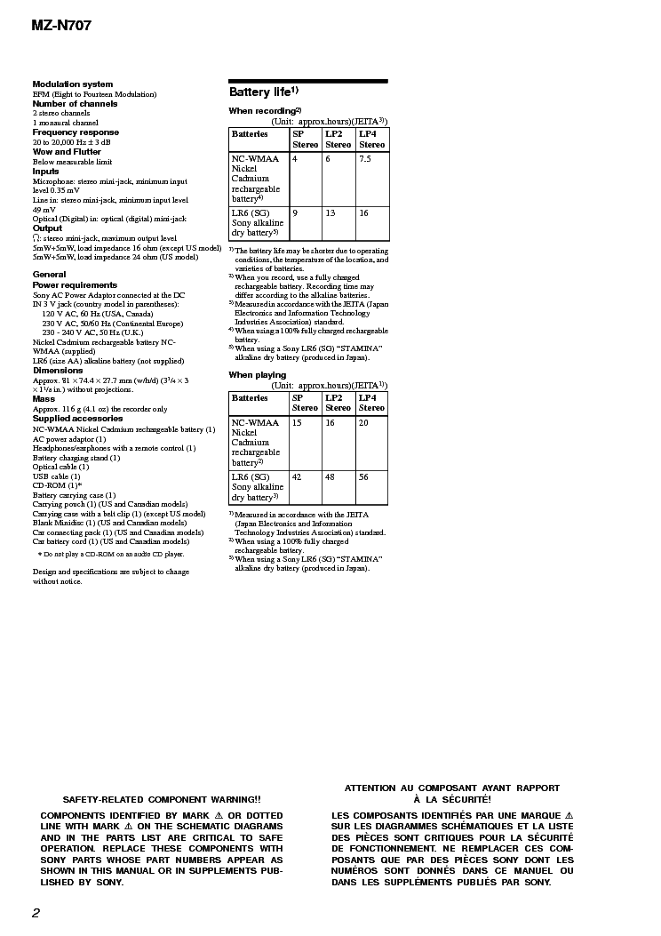 SONY MZ-N707 Service Manual download, schematics, eeprom