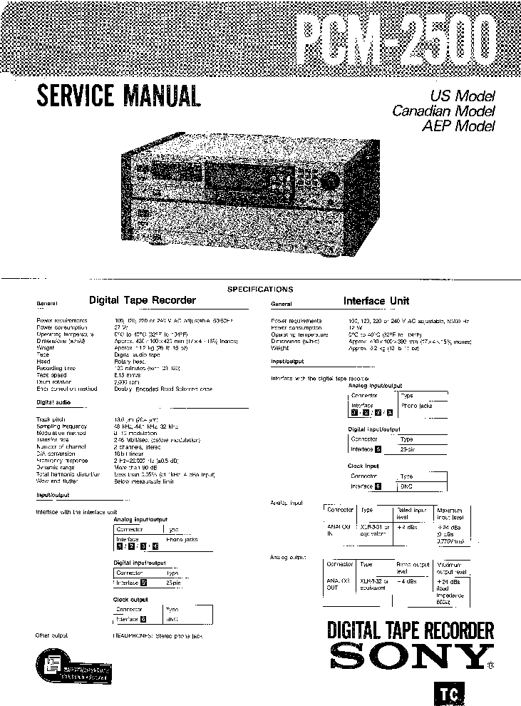 SONY PCM-2500 SM Service Manual download, schematics
