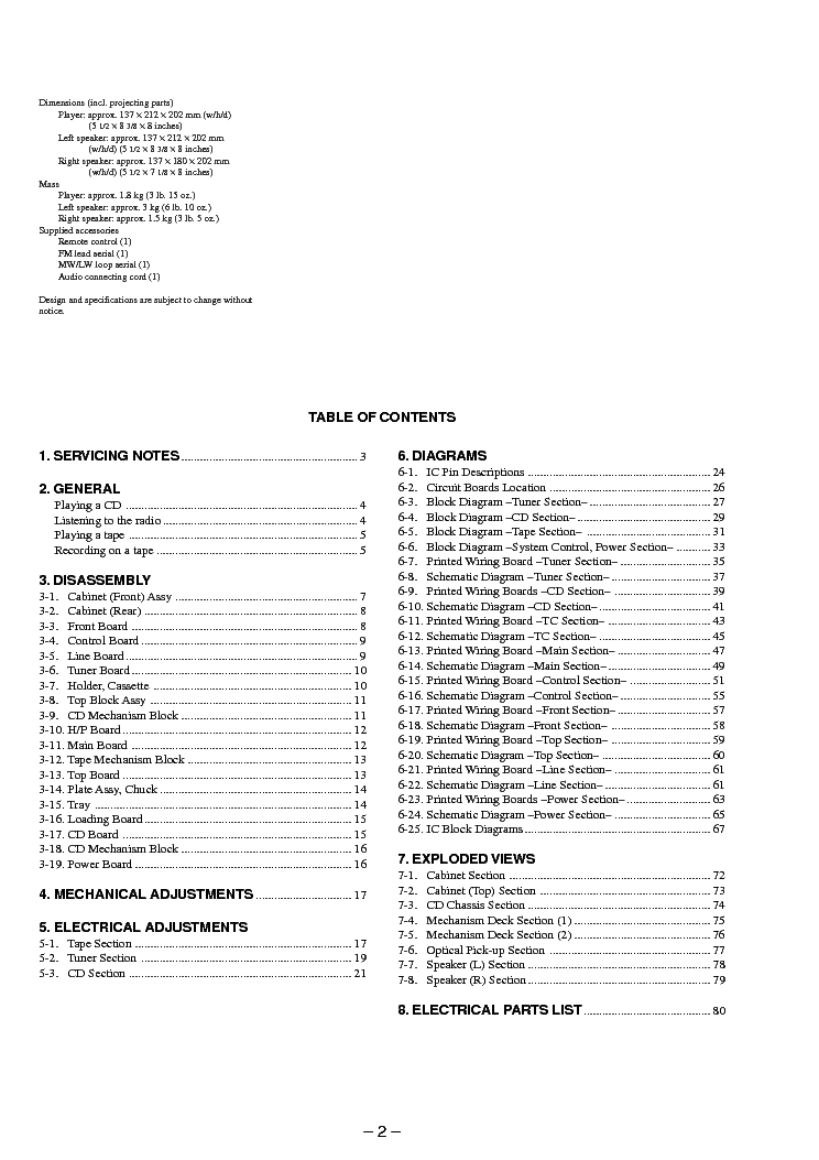 SONY PMC-DR45L Service Manual download, schematics, eeprom