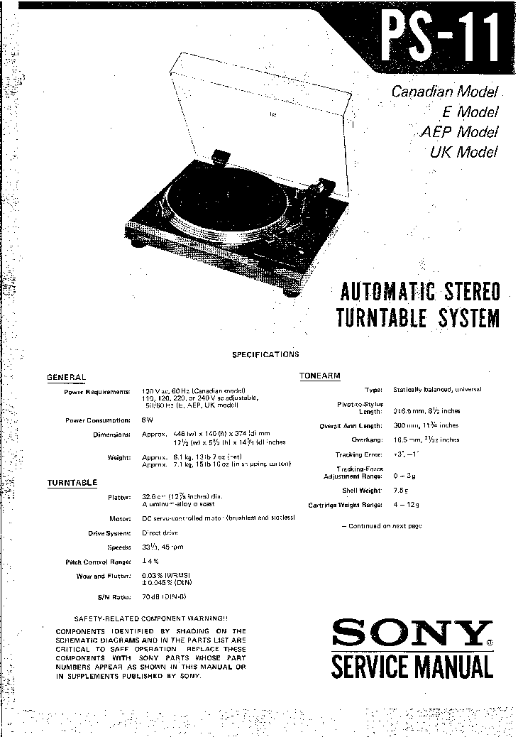 SONY PS-11 Service Manual download, schematics, eeprom