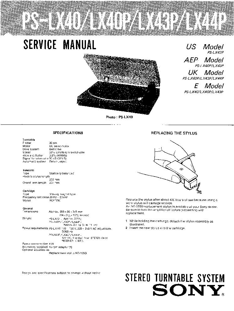 SONY PS-LX40 LX40P LX43P LX44P TURNTABLE Service Manual