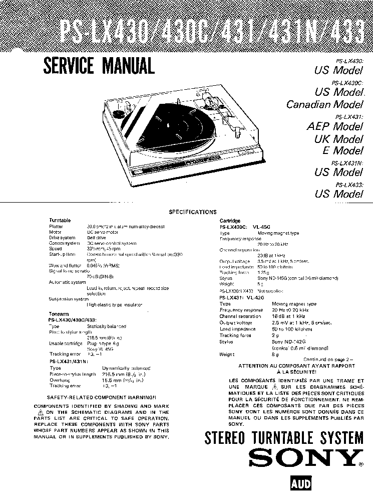 SONY PS-LX430 431 433 Service Manual download, schematics